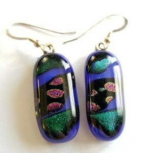 Jewelry - Blue Dichroic Glass earrings silver tone